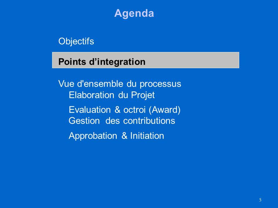 5 Agenda Objectifs Points dintegration Vue d ensemble du processus Elaboration du Projet Evaluation & octroi (Award) Gestion des contributions Approbation & Initiation