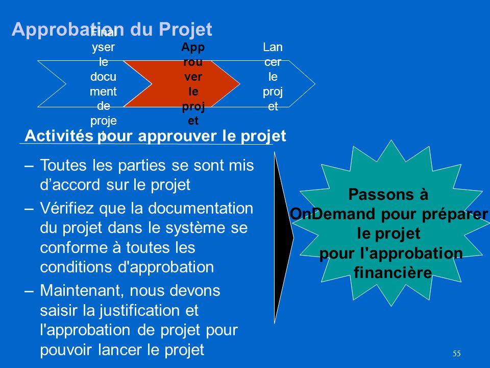 54 l'approbation et du lancement de projet Lan cer le proj et App rou ver le proj et Final yser le docu ment de proje t Principales modifications A dé