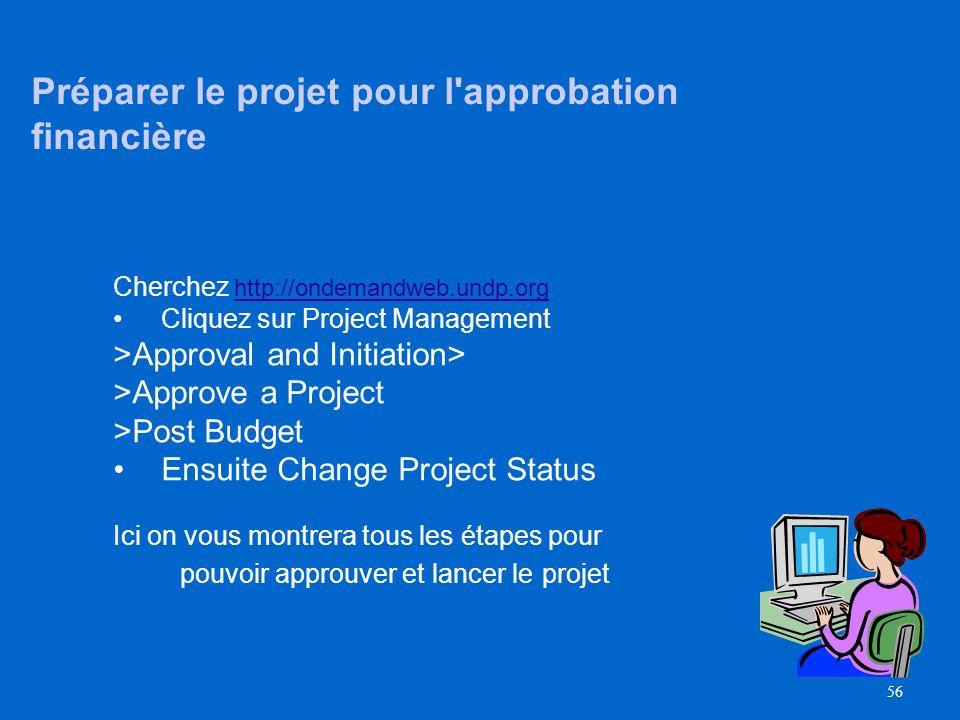 55 Approbation du Projet Activités pour approuver le projet –Toutes les parties se sont mis daccord sur le projet –Vérifiez que la documentation du pr