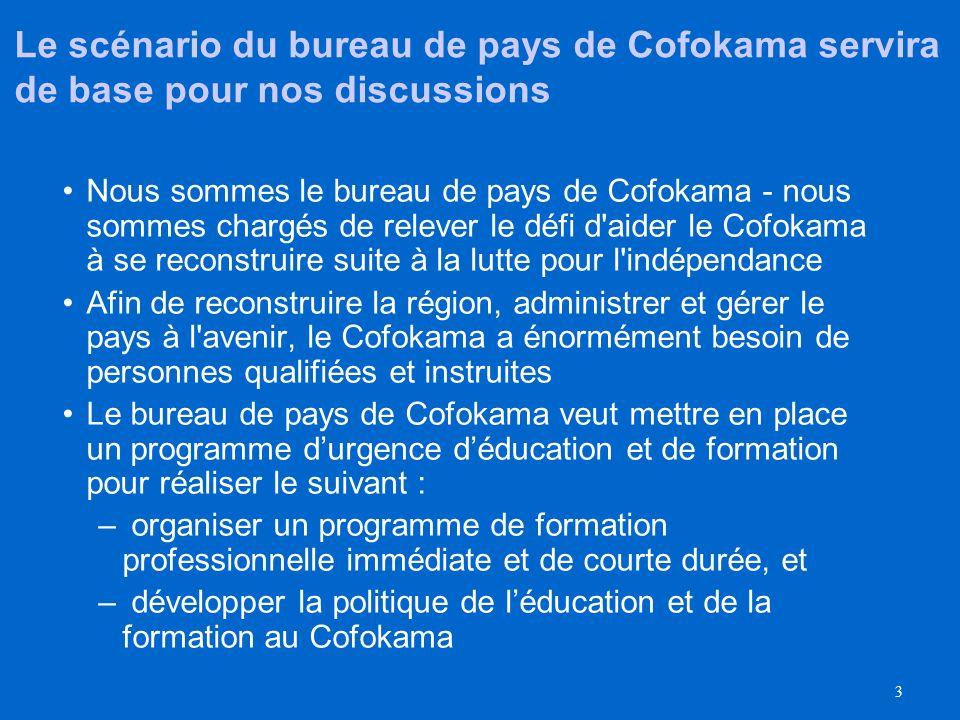 3 Le scénario du bureau de pays de Cofokama servira de base pour nos discussions Nous sommes le bureau de pays de Cofokama - nous sommes chargés de relever le défi d aider le Cofokama à se reconstruire suite à la lutte pour l indépendance Afin de reconstruire la région, administrer et gérer le pays à l avenir, le Cofokama a énormément besoin de personnes qualifiées et instruites Le bureau de pays de Cofokama veut mettre en place un programme durgence déducation et de formation pour réaliser le suivant : – organiser un programme de formation professionnelle immédiate et de courte durée, et – développer la politique de léducation et de la formation au Cofokama