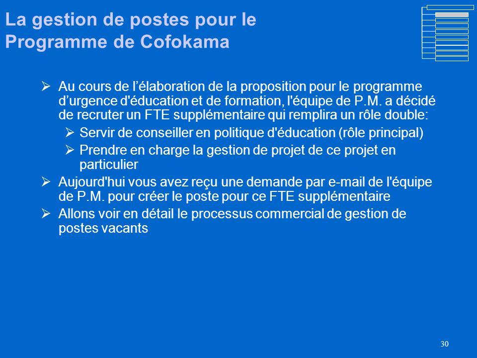 29 La gestion des postes au PNUD/UNOPS/FNUAP A l Onu, le peronnel est classifié par poste.