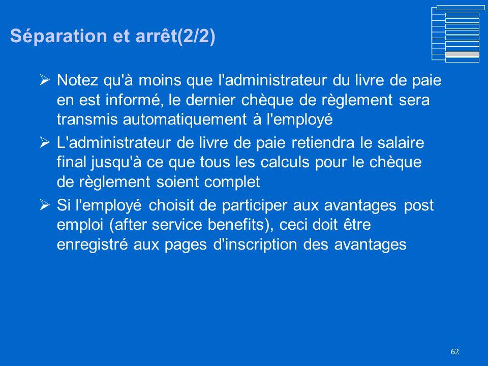 61 Séparation et arrêt (1/2) La séparation désigné sous le nom Termination dans PeopleSoft La séparation change le statut de lemployé en inactif et l'