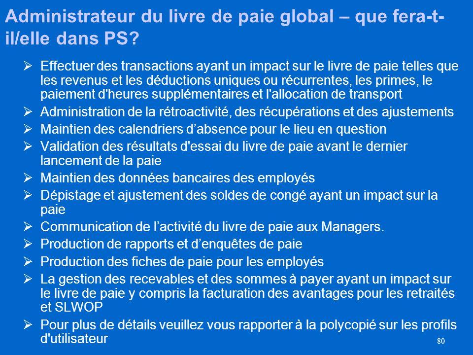 79 Administrateur du livre de paie global– qui sera-t-il? Un employé qui exécute les fonctions de livre de paie qui sont habituellement déterminées av