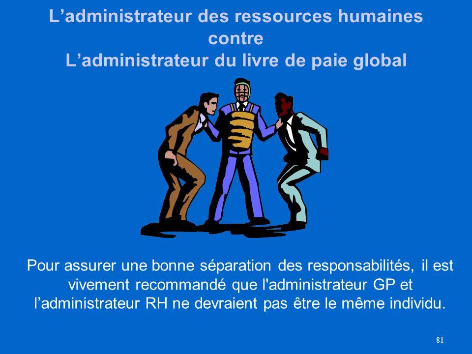80 Administrateur du livre de paie global – que fera-t- il/elle dans PS? Effectuer des transactions ayant un impact sur le livre de paie telles que le