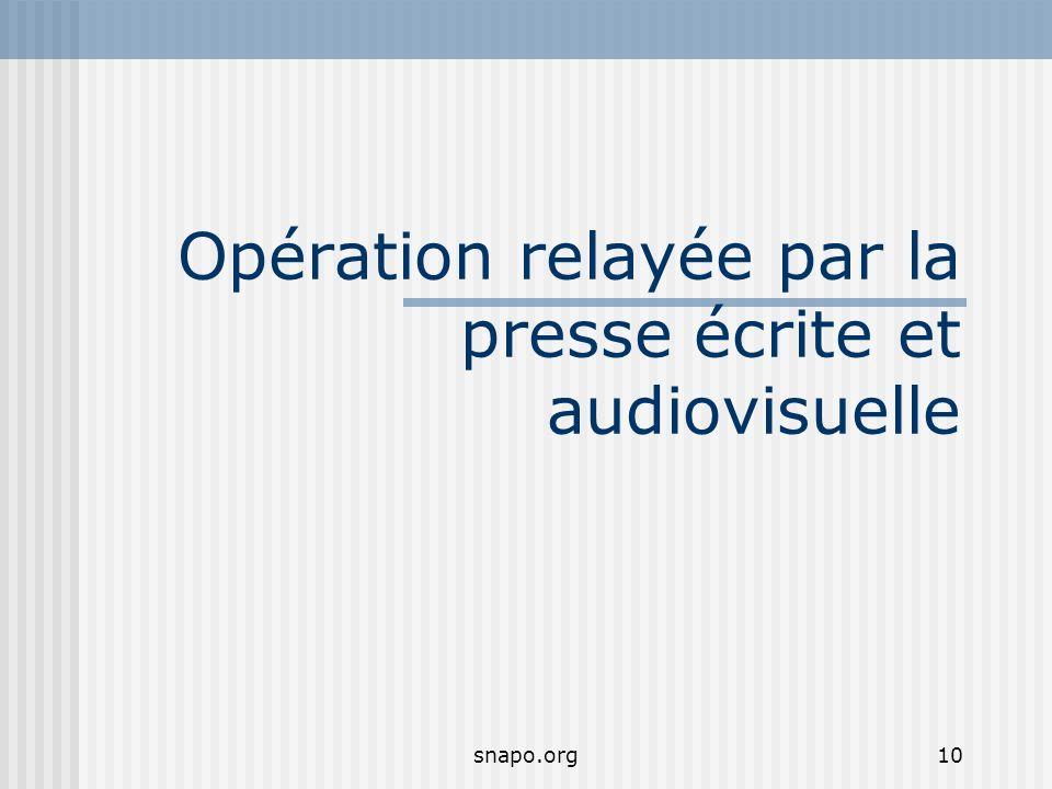snapo.org10 Opération relayée par la presse écrite et audiovisuelle