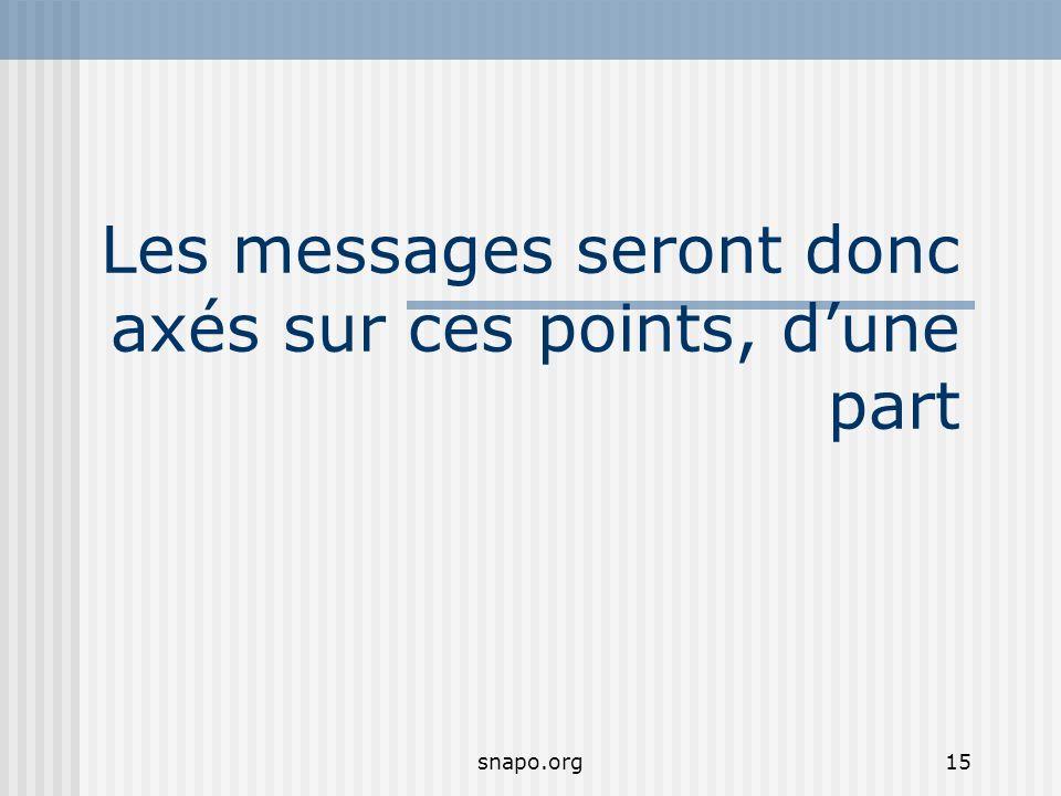 snapo.org15 Les messages seront donc axés sur ces points, dune part
