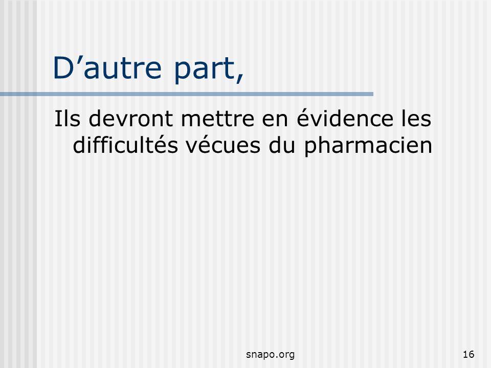 snapo.org16 Dautre part, Ils devront mettre en évidence les difficultés vécues du pharmacien