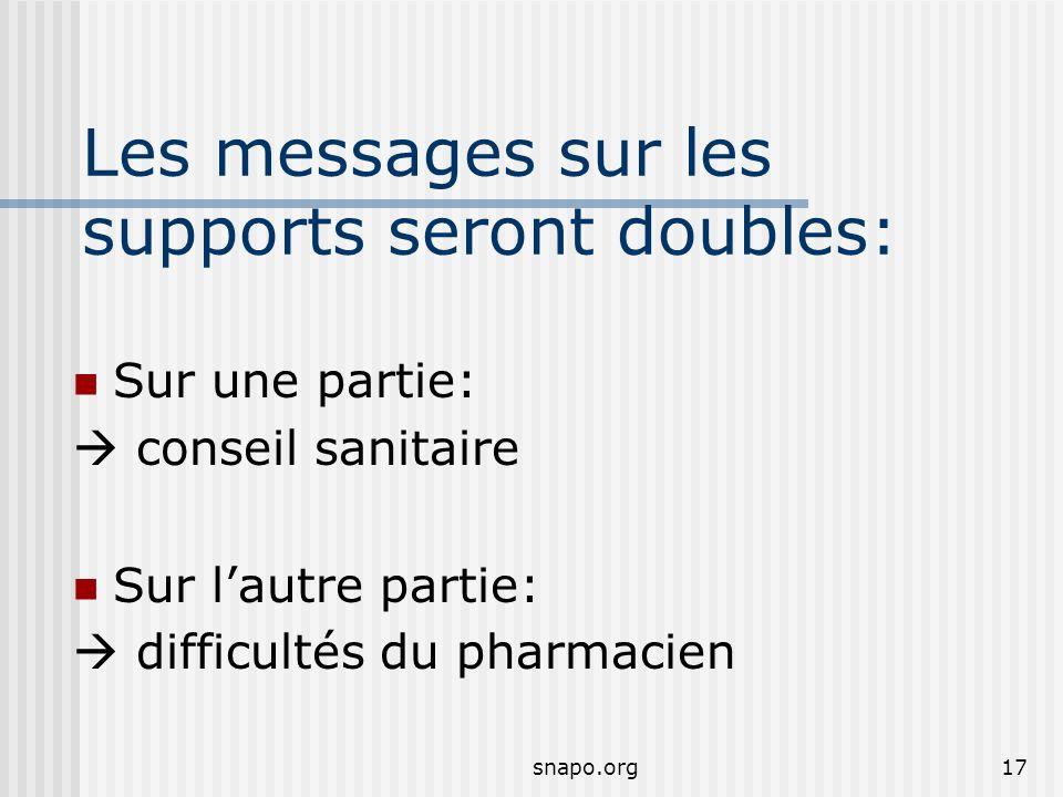 snapo.org17 Les messages sur les supports seront doubles: Sur une partie: conseil sanitaire Sur lautre partie: difficultés du pharmacien