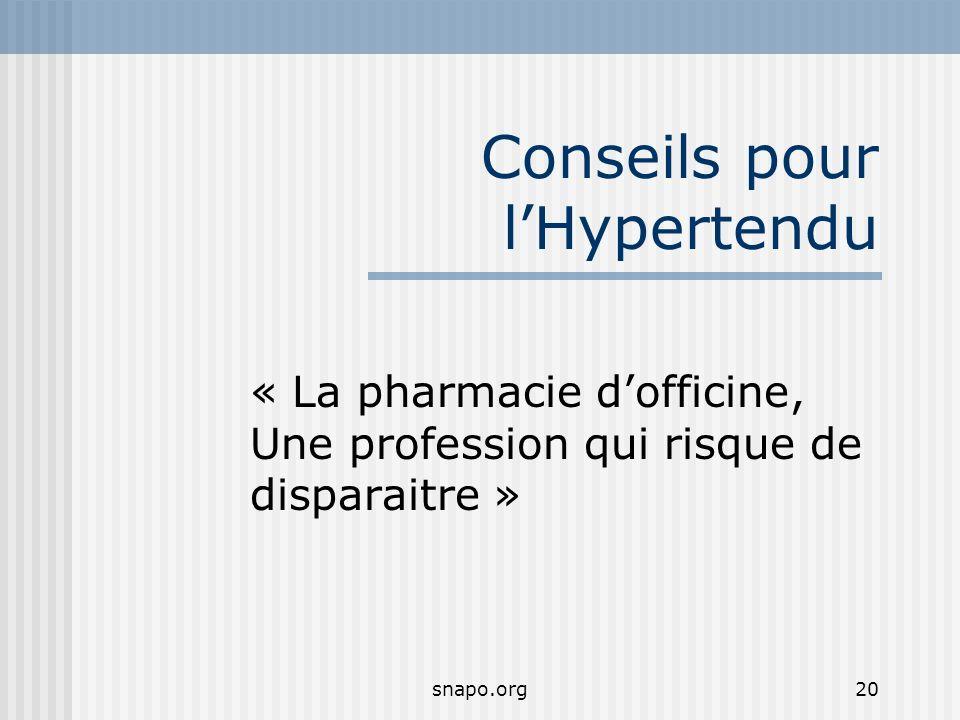 snapo.org20 Conseils pour lHypertendu « La pharmacie dofficine, Une profession qui risque de disparaitre »