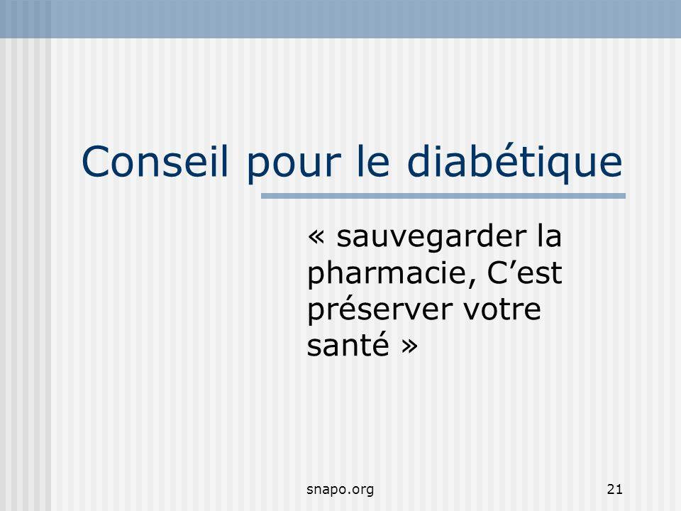 snapo.org21 Conseil pour le diabétique « sauvegarder la pharmacie, Cest préserver votre santé »
