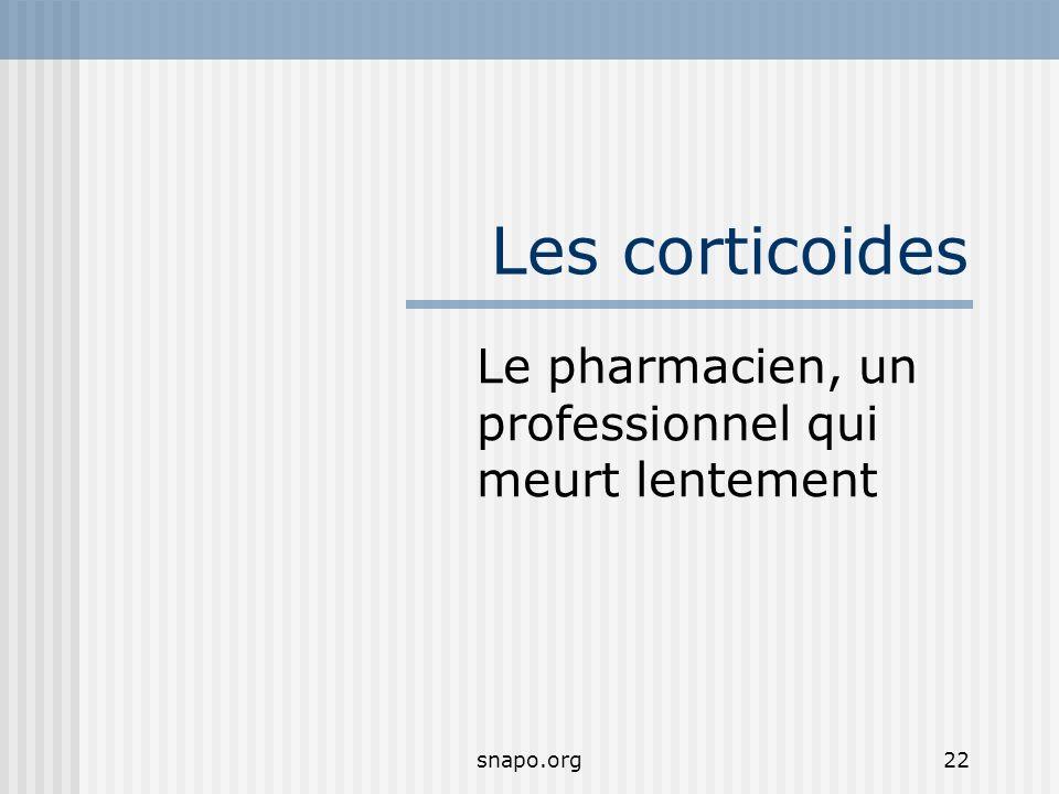 snapo.org22 Les corticoides Le pharmacien, un professionnel qui meurt lentement