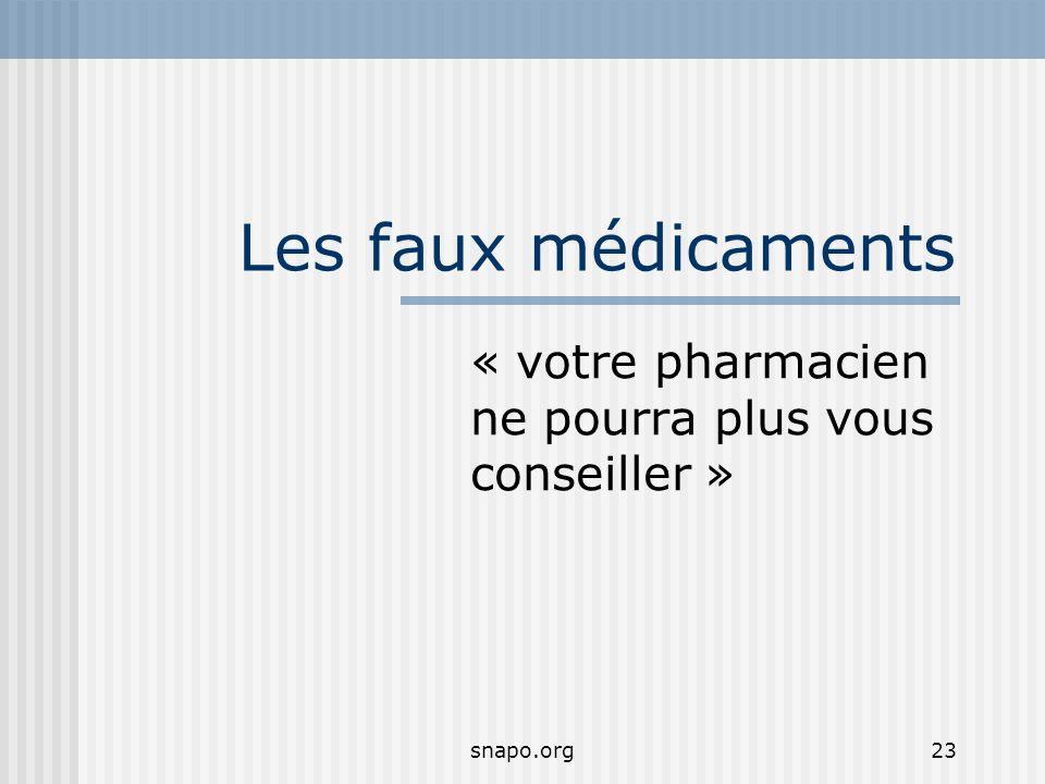 snapo.org23 Les faux médicaments « votre pharmacien ne pourra plus vous conseiller »