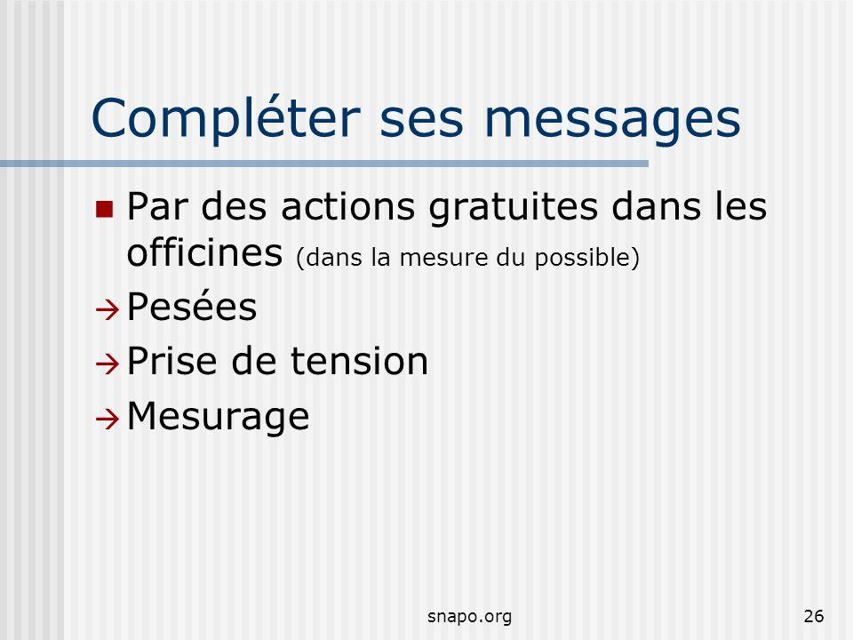 snapo.org26 Compléter ses messages Par des actions gratuites dans les officines (dans la mesure du possible) Pesées Prise de tension Mesurage