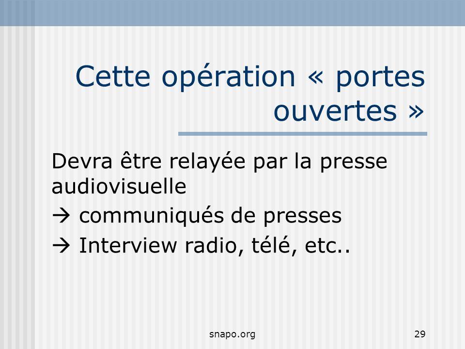 snapo.org29 Cette opération « portes ouvertes » Devra être relayée par la presse audiovisuelle communiqués de presses Interview radio, télé, etc..