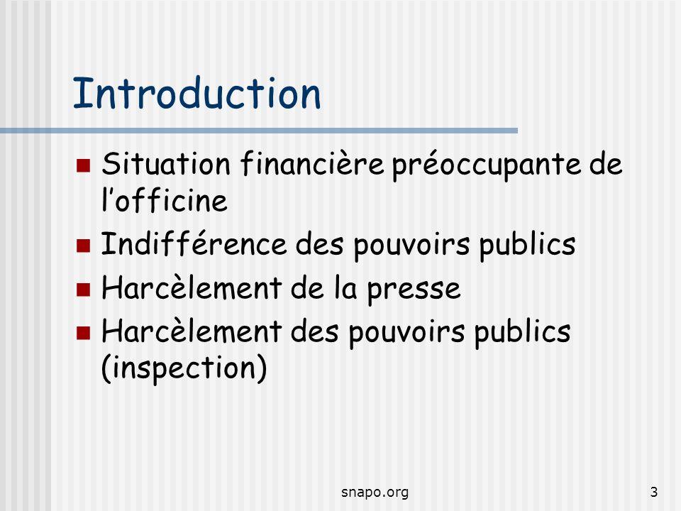 snapo.org3 Introduction Situation financière préoccupante de lofficine Indifférence des pouvoirs publics Harcèlement de la presse Harcèlement des pouvoirs publics (inspection)