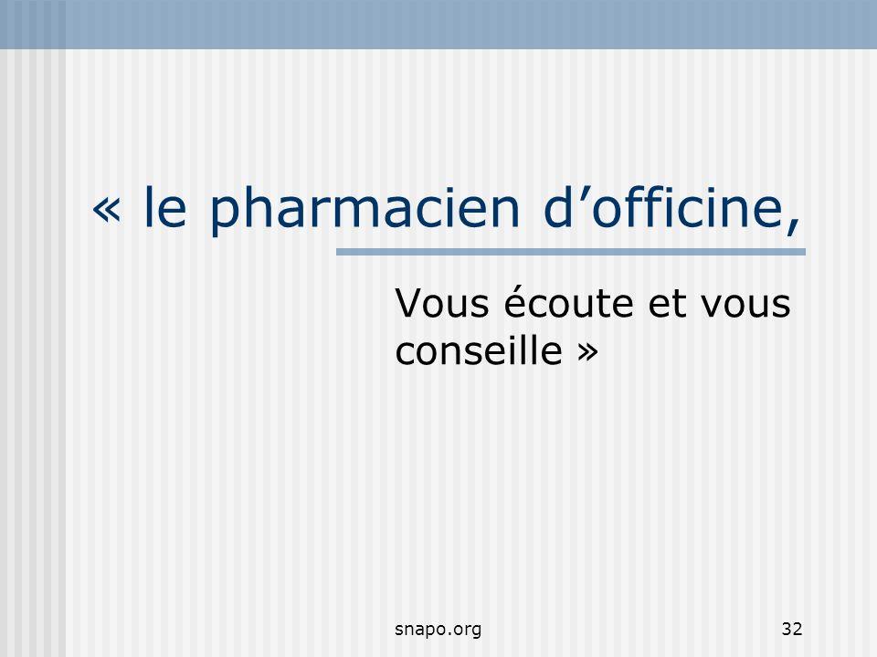 snapo.org32 « le pharmacien dofficine, Vous écoute et vous conseille »