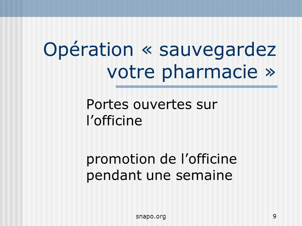 snapo.org9 Opération « sauvegardez votre pharmacie » Portes ouvertes sur lofficine promotion de lofficine pendant une semaine