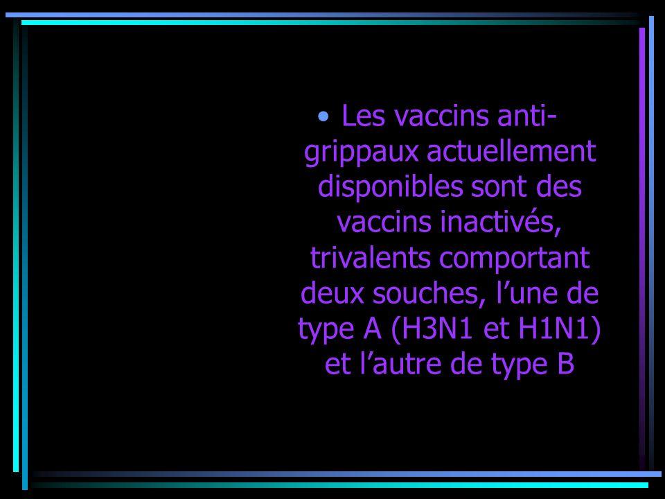 Les vaccins anti- grippaux actuellement disponibles sont des vaccins inactivés, trivalents comportant deux souches, lune de type A (H3N1 et H1N1) et l