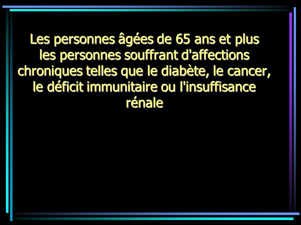 Les personnes âgées de 65 ans et plus les personnes souffrant d'affections chroniques telles que le diabète, le cancer, le déficit immunitaire ou l'in