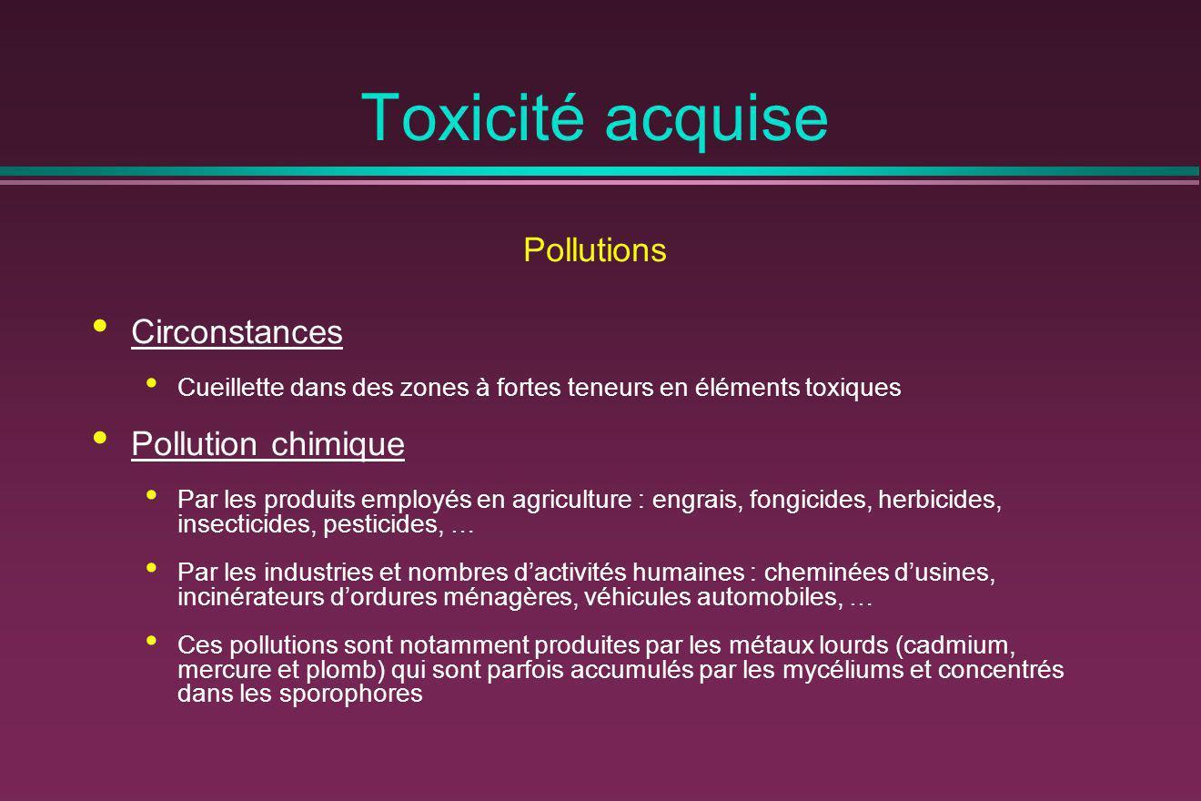 Toxicité acquise Pollutions Circonstances Cueillette dans des zones à fortes teneurs en éléments toxiques Pollution chimique Par les produits employés