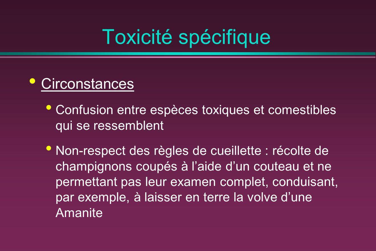Toxicité spécifique Circonstances Confusion entre espèces toxiques et comestibles qui se ressemblent Non-respect des règles de cueillette : récolte de