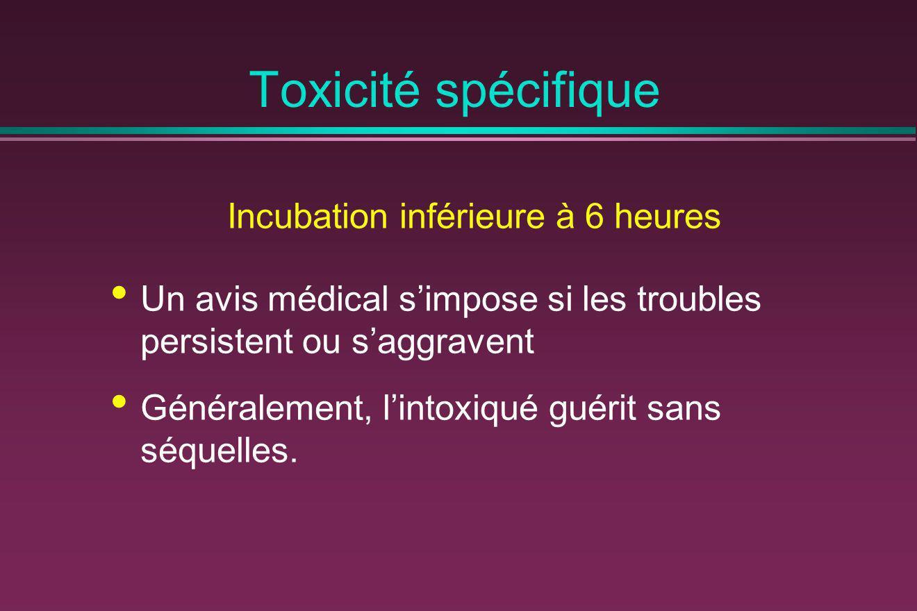 Toxicité spécifique Incubation inférieure à 6 heures Un avis médical simpose si les troubles persistent ou saggravent Généralement, lintoxiqué guérit