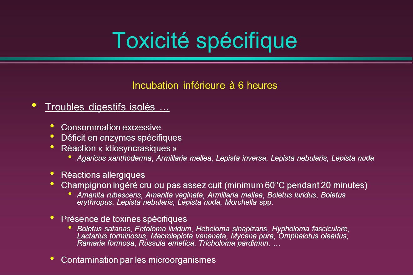Toxicité spécifique Incubation inférieure à 6 heures Troubles digestifs isolés … Consommation excessive Déficit en enzymes spécifiques Réaction « idio