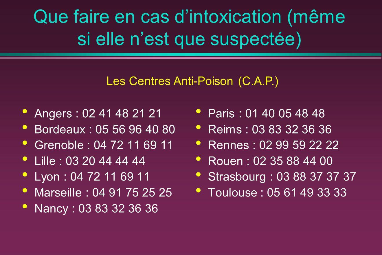 Que faire en cas dintoxication (même si elle nest que suspectée) Angers : 02 41 48 21 21 Bordeaux : 05 56 96 40 80 Grenoble : 04 72 11 69 11 Lille : 0