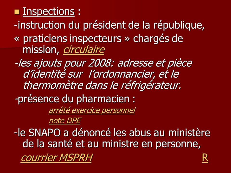 Inspections : Inspections : -instruction du président de la république, « praticiens inspecteurs » chargés de mission, circulaire circulaire -les ajou