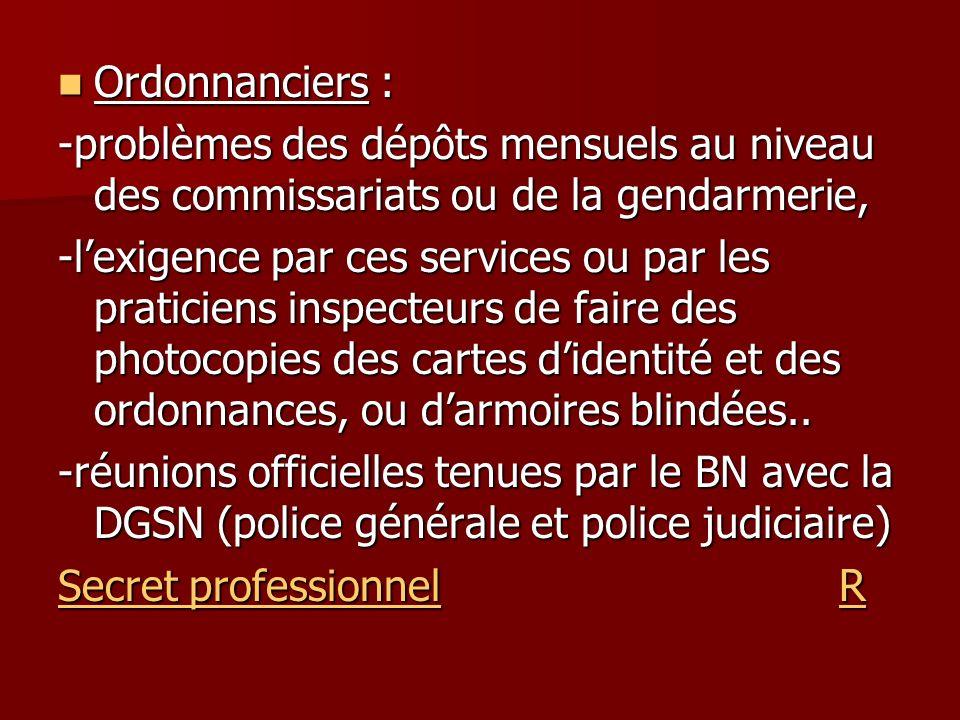 Ordonnanciers : Ordonnanciers : -problèmes des dépôts mensuels au niveau des commissariats ou de la gendarmerie, -lexigence par ces services ou par le