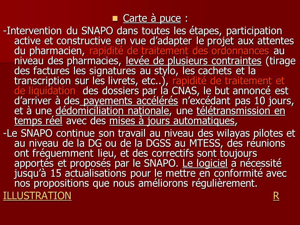 Carte à puce : Carte à puce : -Intervention du SNAPO dans toutes les étapes, participation active et constructive en vue dadapter le projet aux attent