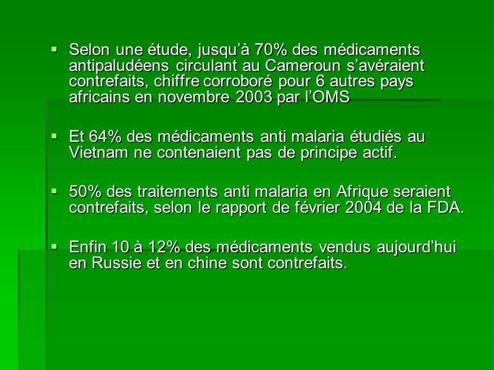 Selon une étude, jusquà 70% des médicaments antipaludéens circulant au Cameroun savéraient contrefaits, chiffre corroboré pour 6 autres pays africains
