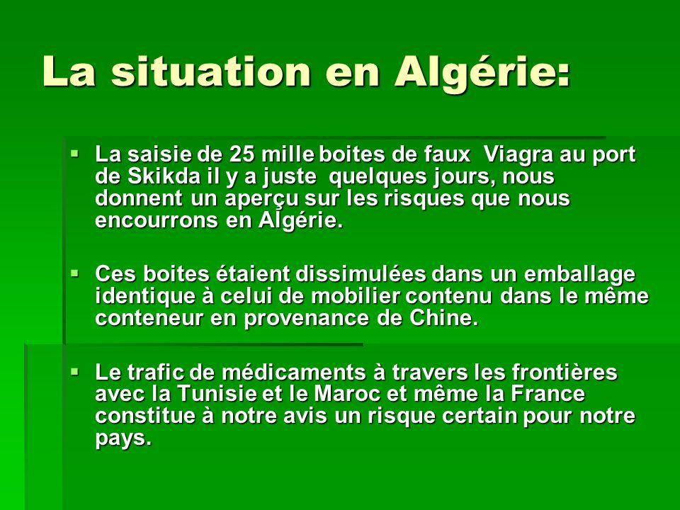 La situation en Algérie: La saisie de 25 mille boites de faux Viagra au port de Skikda il y a juste quelques jours, nous donnent un aperçu sur les ris