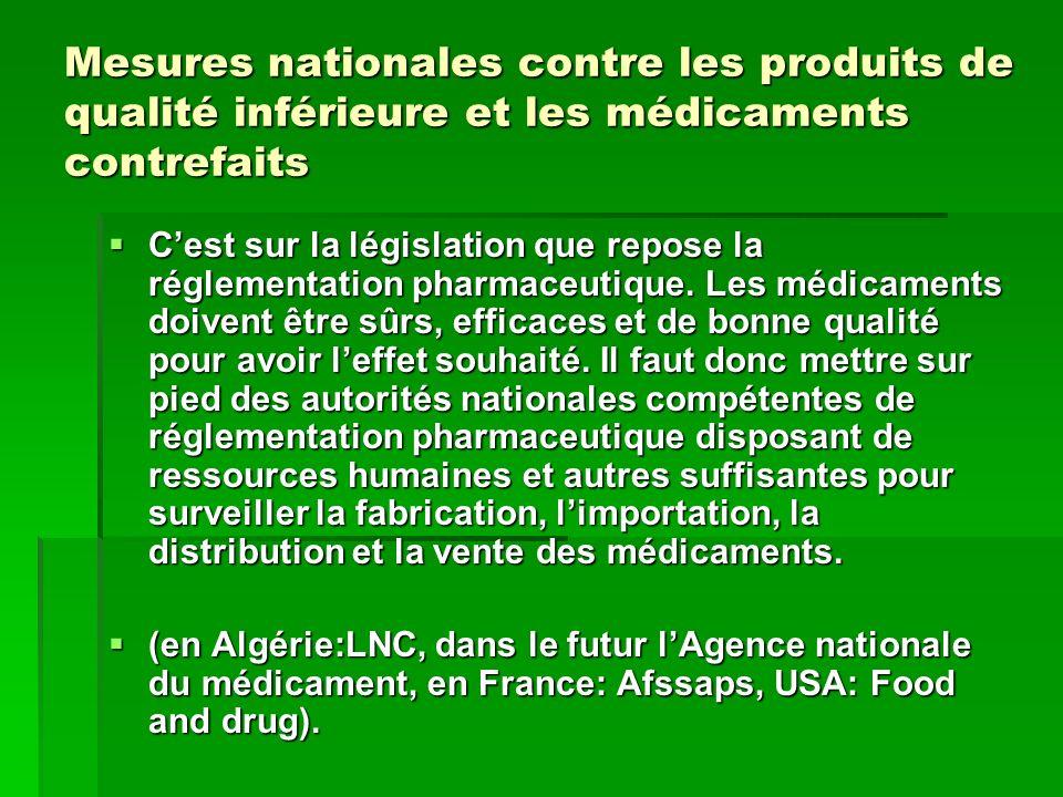 Mesures nationales contre les produits de qualité inférieure et les médicaments contrefaits Cest sur la législation que repose la réglementation pharm