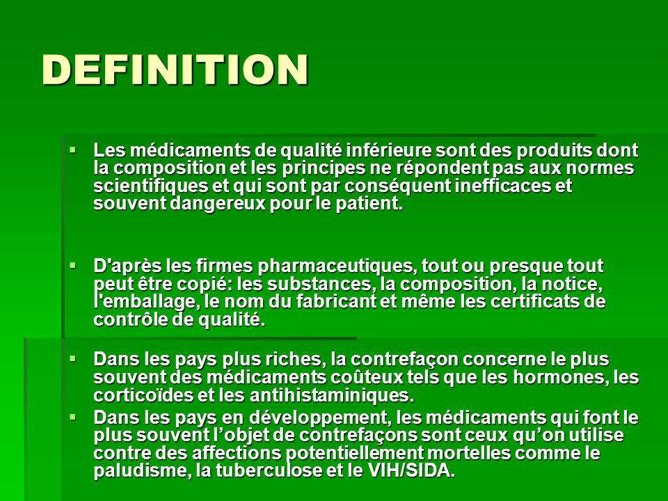 DEFINITION Les médicaments de qualité inférieure sont des produits dont la composition et les principes ne répondent pas aux normes scientifiques et q
