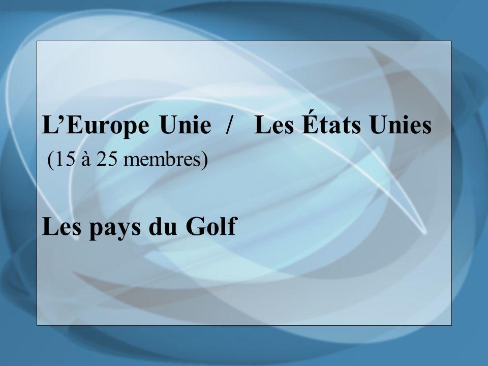 LEurope Unie / Les États Unies (15 à 25 membres) Les pays du Golf