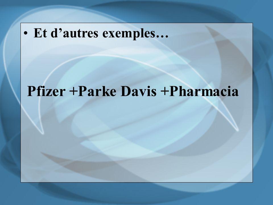 Et dautres exemples… Pfizer +Parke Davis +Pharmacia