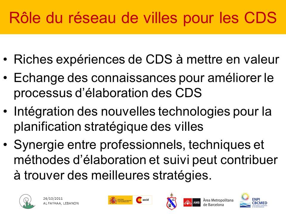 Riches expériences de CDS à mettre en valeur Echange des connaissances pour améliorer le processus délaboration des CDS Intégration des nouvelles technologies pour la planification stratégique des villes Synergie entre professionnels, techniques et méthodes délaboration et suivi peut contribuer à trouver des meilleures stratégies.