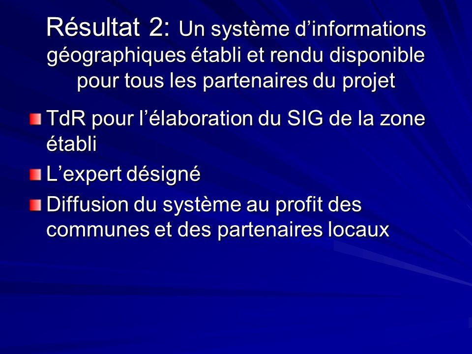 Résultat 2: Un système dinformations géographiques établi et rendu disponible pour tous les partenaires du projet TdR pour lélaboration du SIG de la z