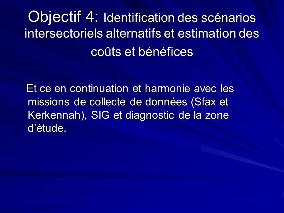 Objectif 4: Identification des scénarios intersectoriels alternatifs et estimation des coûts et bénéfices Et ce en continuation et harmonie avec les m