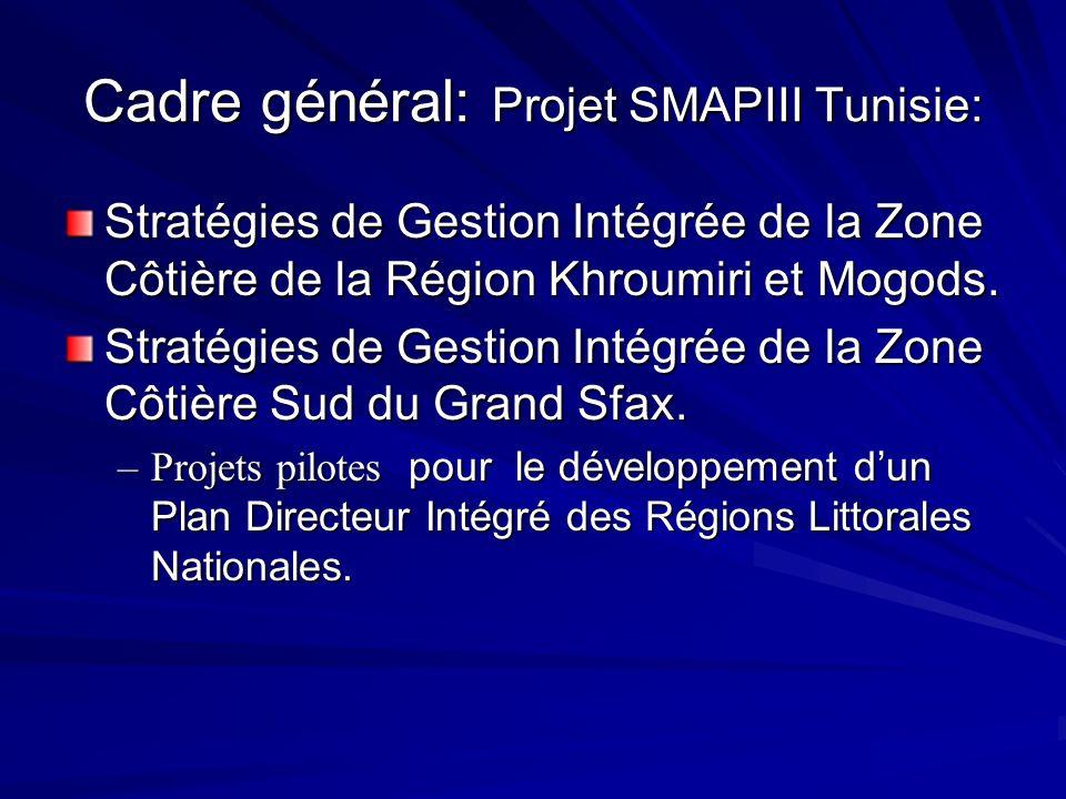 Cadre général: Projet SMAPIII Tunisie: Stratégies de Gestion Intégrée de la Zone Côtière de la Région Khroumiri et Mogods. Stratégies de Gestion Intég
