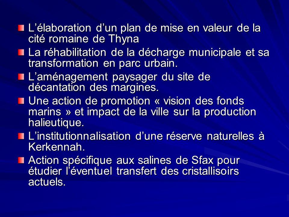 Lélaboration dun plan de mise en valeur de la cité romaine de Thyna La réhabilitation de la décharge municipale et sa transformation en parc urbain. L