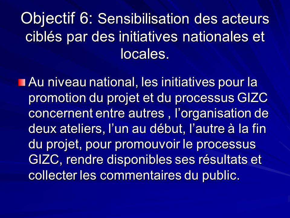 Objectif 6: Sensibilisation des acteurs ciblés par des initiatives nationales et locales. Au niveau national, les initiatives pour la promotion du pro