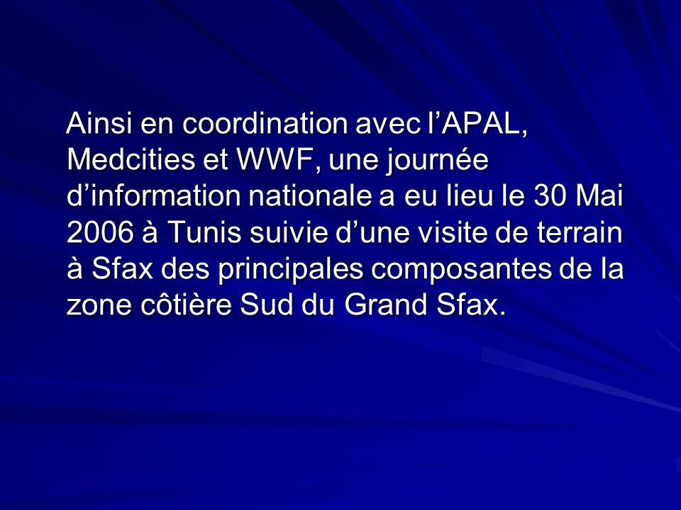 Ainsi en coordination avec lAPAL, Medcities et WWF, une journée dinformation nationale a eu lieu le 30 Mai 2006 à Tunis suivie dune visite de terrain