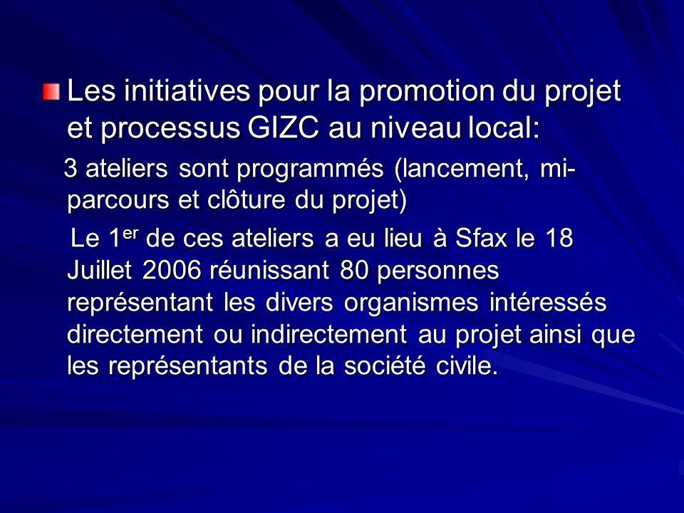 Les initiatives pour la promotion du projet et processus GIZC au niveau local: 3 ateliers sont programmés (lancement, mi- parcours et clôture du proje