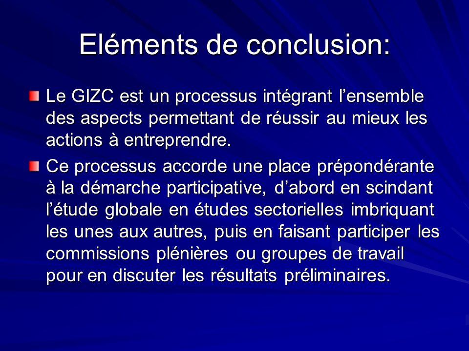 Eléments de conclusion: Le GIZC est un processus intégrant lensemble des aspects permettant de réussir au mieux les actions à entreprendre. Ce process