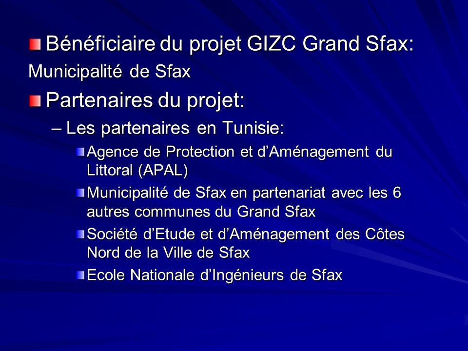 Bénéficiaire du projet GIZC Grand Sfax: Municipalité de Sfax Partenaires du projet: –Les partenaires en Tunisie: Agence de Protection et dAménagement