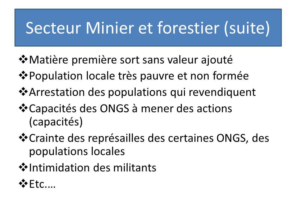 Secteur Minier et forestier (suite) Matière première sort sans valeur ajouté Population locale très pauvre et non formée Arrestation des populations q
