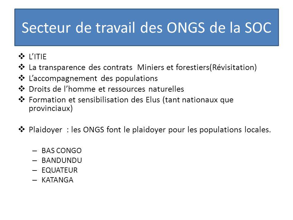 Secteur de travail des ONGS de la SOC LITIE La transparence des contrats Miniers et forestiers(Révisitation) Laccompagnement des populations Droits de