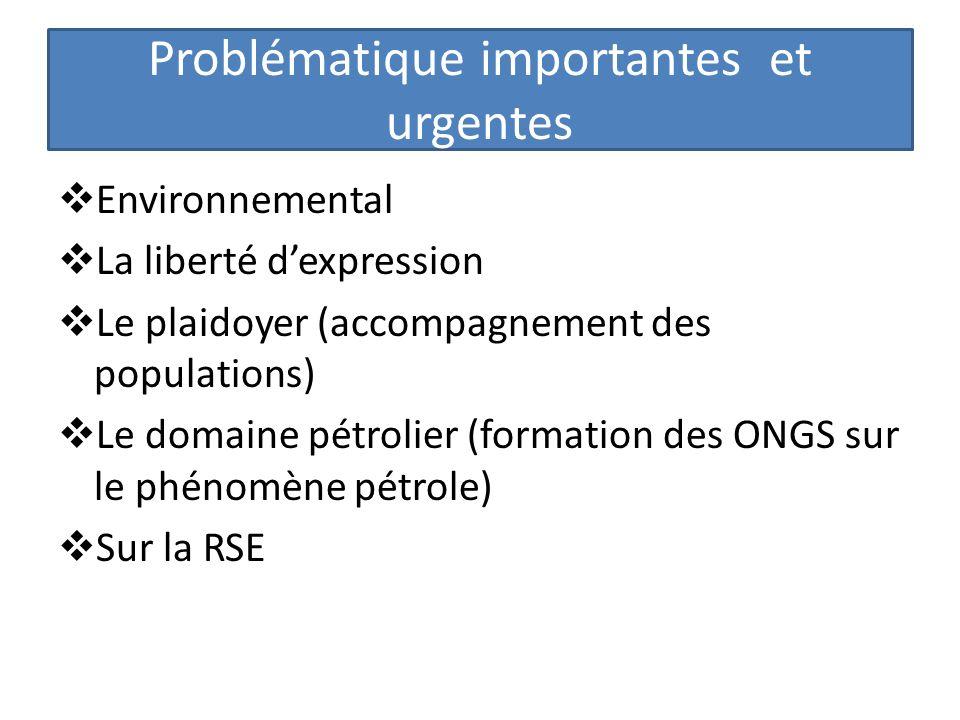 Problématique importantes et urgentes Environnemental La liberté dexpression Le plaidoyer (accompagnement des populations) Le domaine pétrolier (forma